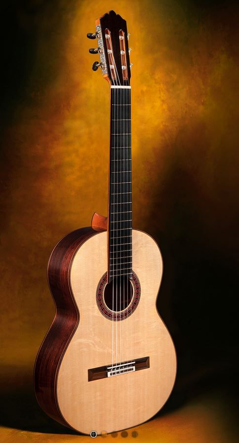 Classical Guitar Robert Ruck, USA Double (Composite) Top with Elevated Fingerboard and 20th fret spr./Nomex/ced. soundboard $17,000.00 Inquire Here: 216.752.7502 Spruce/Nomex/ced. double top soundboard construction, moderately elevated ebony fingerboard with 20th first string fret; ebony headstock veneer; synthetic finish on the sides and back for optimum durability; French polish of shellac finish on the soundboard for optimum acoustic response; Sloane machine heads (Rodgers tuning machines…