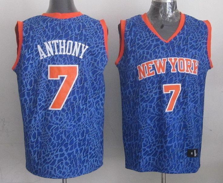 Men's NBA New York Knicks #7 Anthony Crazy Light Swingman Blue Jersey