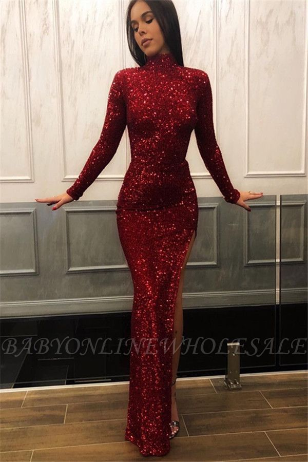 befd5eaf03a09 Burgundy Sheath High Neck Long Sleeves Sequins Side Slit Prom ...
