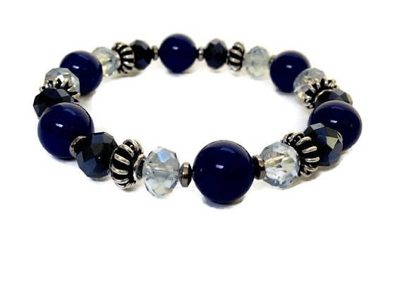 Navy Blue Bracelet Stretch Bracelet Beaded Jewelry