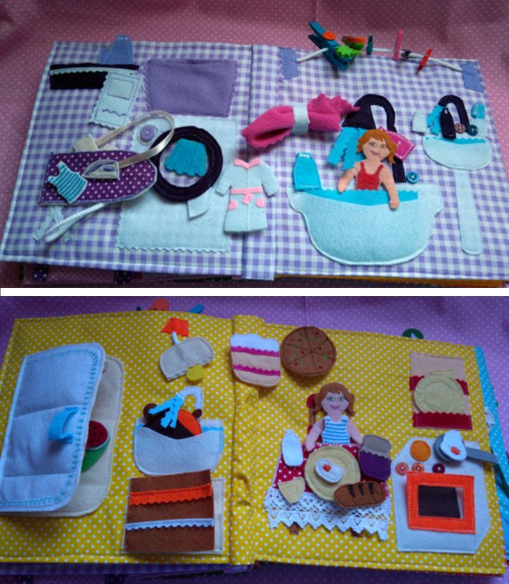 Big quiet book, complete doll house, with detachable parts and baby doll, big quiet book tablets, busy book by BabamBabywearing on Etsy