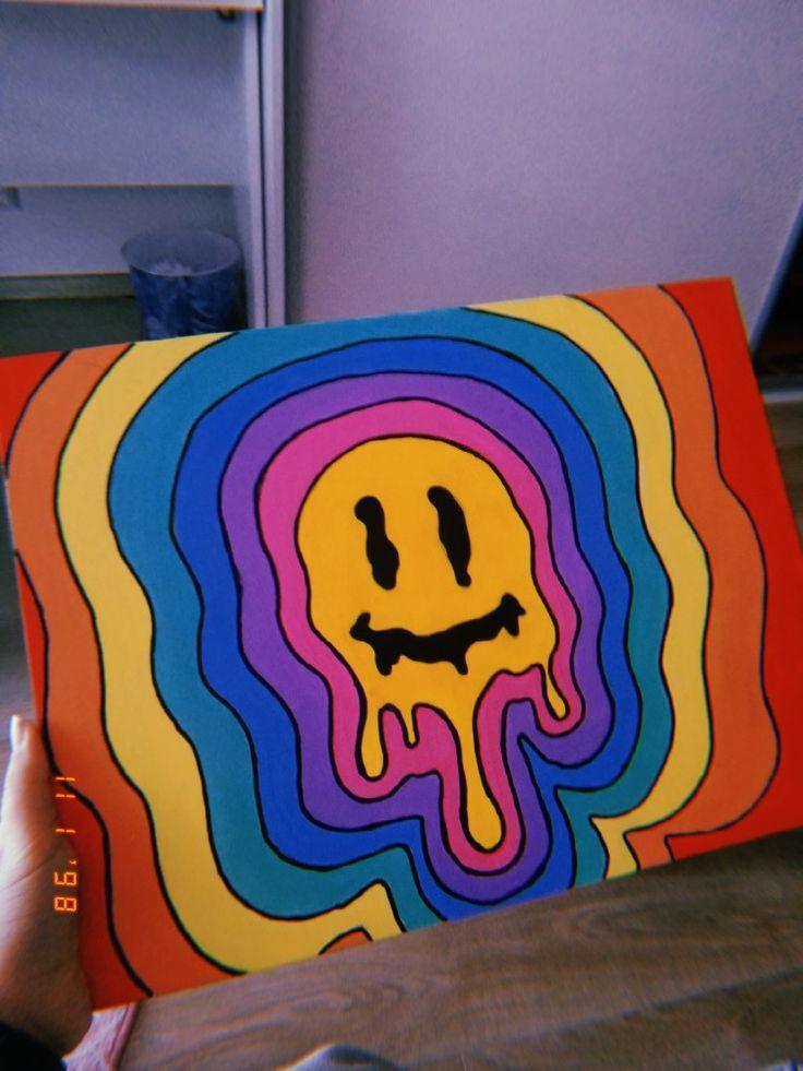 canvas painting hippie paintings trippy emoji simple easy drawings indie aesthetic arte projects drawing dibujos cool wau nikto