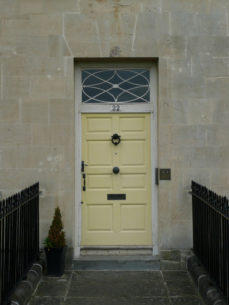 Bath. The famous 'yellow front door' in the Royal Crescent. In the 1970s one resident Miss Wellesley-Colley painted her front door at number 22 yellow instead of the traditional white. The city council issued a notice insisting it should be repainted. A court case ensued which resulted in the Secretary of State for the Environment declaring that the door could remain yellow.  In recent years I had to support a client who wished to paint his front door 'bronze green'. We won the case too.