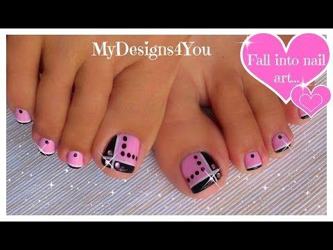 Toenail Art Design | Pink and Black Toes ♥ Черно-Розовый Педикюр - YouTube