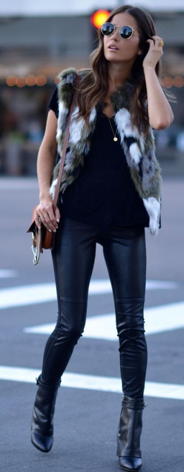 Blank Itinerary Black And White Faux Fur Vest Fall Inspo