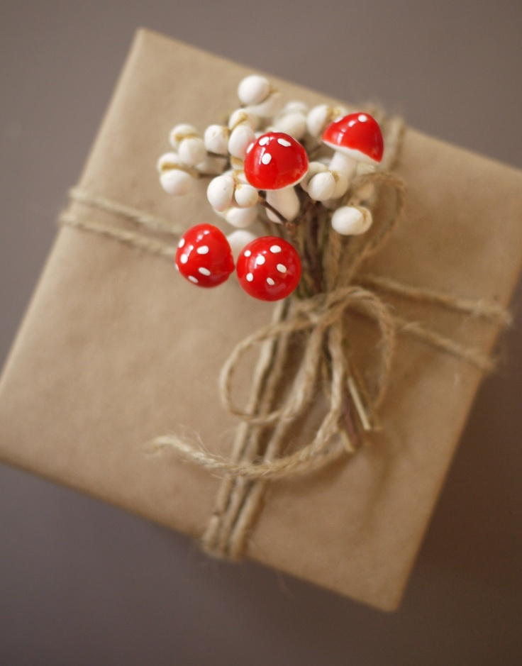 Kraft Paper Wrapping with Tiny Mushrooms and Berries