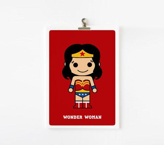 Cute superhero - Wonder Woman 5x7 wall art, art print. $8.00, via Etsy.