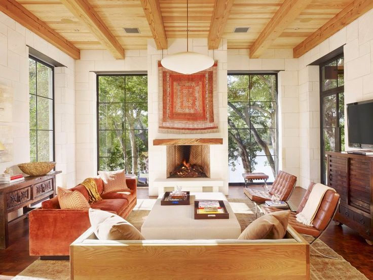 Amazing Decor Southwestern Decor With Fireplace And Glass Window Also Sofas And  Pillows As Well As Wooden Part 29