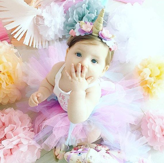 First Birthday Unicorn Outfit  A beautiful tutu and unicorn headband set that can be made in any colour of your choice. This is great for first birthdays, a cake smash, a newborn photo shoot or just hanging around at home in.