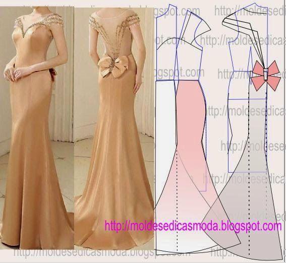 PASSO A PASSO TRANSFORMAÇÃO DO MOLDE DE VESTIDO Desenhe o molde base de vestido, frentes e costas. Desenhe a altura do vestido nas frentes e costas. Desenh