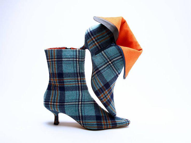 gorgeous!Style, Blue Tartan, Ankle Boots, Tartan Ankle, Woman Shoes, Tartan Boots, Mandarina Shoes, Heels Booty, Bruichladdich Tartan