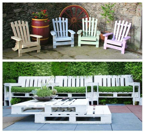 Europaletten Holz Paletten Möbel Bastelideen DIY Cool Modern Gartenstühle