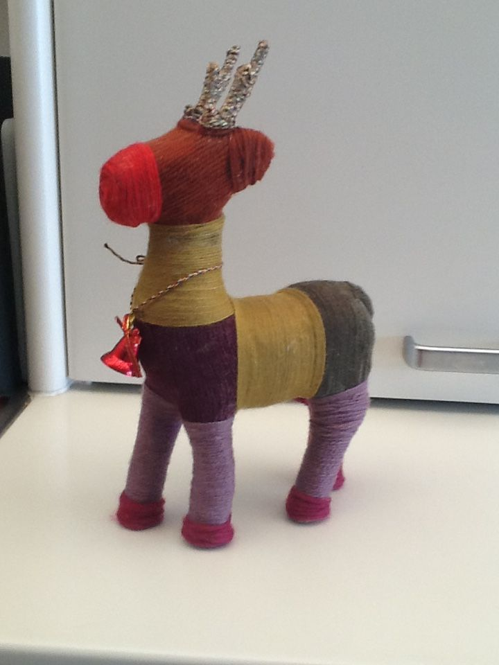 A Christmas reindeer...wrapped in wool