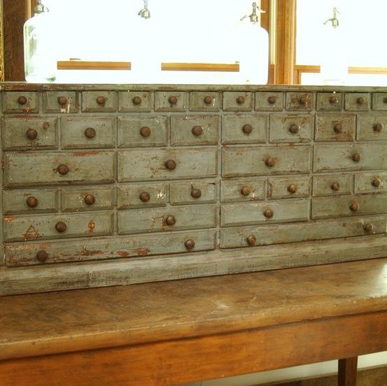 Apothecary Cabinet.  Man all those drawer are awesome.