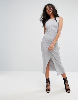 AllSaints Dress with Thigh Split in Gray Marl