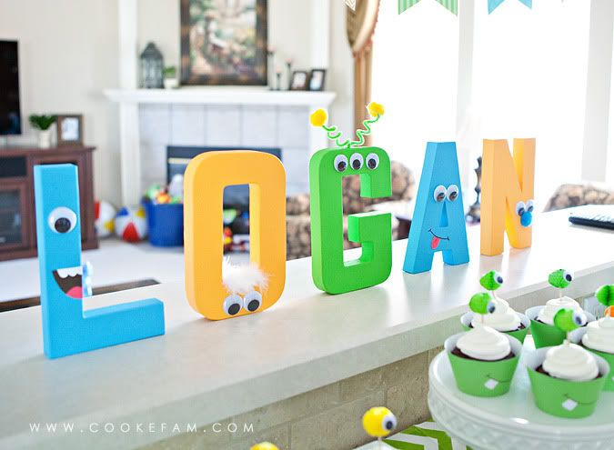 Buy some letters at your favorite craft store, paint them whatever colors will match your classroom theme, and then decorate them with large wiggly eyes! I'd do this to label the main parts of my classroom - or just to make one that says READ or LEARN!
