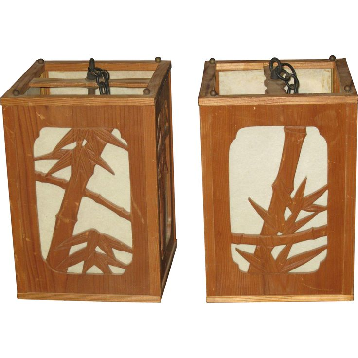 Pair of Japanese Bamboo Hanging Lanterns with Bamboo Motif #VintageBeginsHere at www.rubylane.com @rubylanecom