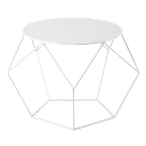 Table basse ronde en m tal blanche d 64 cm rep rage d co - Table basse ronde blanche ...