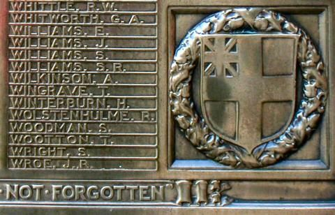 Close up view of War Memorial Plaque - Tramways Dept. - Hyde Road, Manchester.