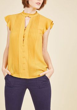 Zeal Studies Button-Up Top in Goldenrod. Your sartorial knowledge is boundless, and with this mustard blouse, you tangibly translate the depth of your stylish intelligence.  #modcloth