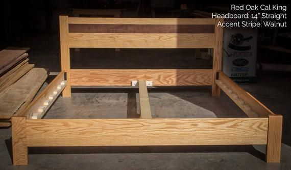 White Oak Simple Platform Bed Frame Straight Headboard Etsy