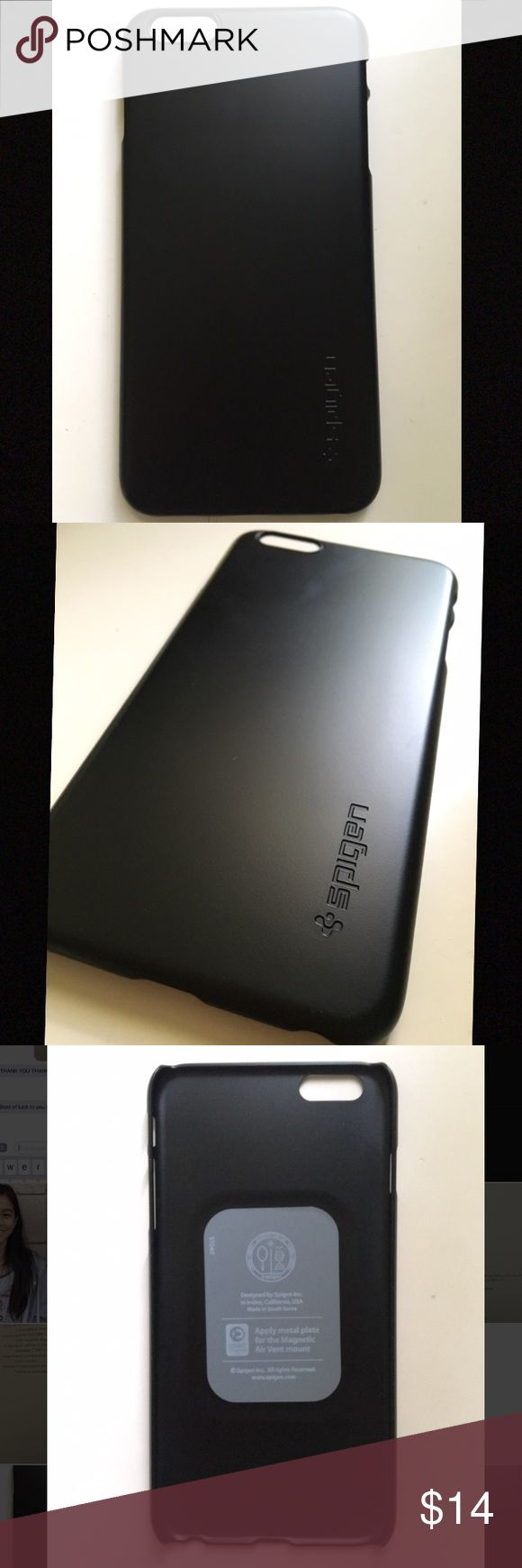 Spigen iPhone 6s plus/6 plus case Black Brand new, Never used. I just ordered the wrong size for my phone. Made in South Korea. Slim design for perfect grip. Thin fit. The brand name is Spigen. Its a matte black case with the brand name printed small on the bottom as shown in the picture above Spigen Accessories Phone Cases