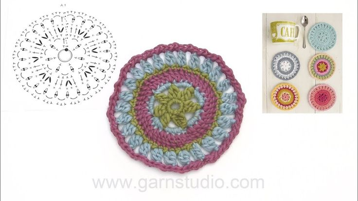 How to crochet the coaster in DROPS Extra 0-1386