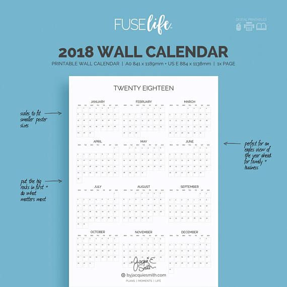 2018 Printable Wall Calendar : FUSElife A0  US-E Posters