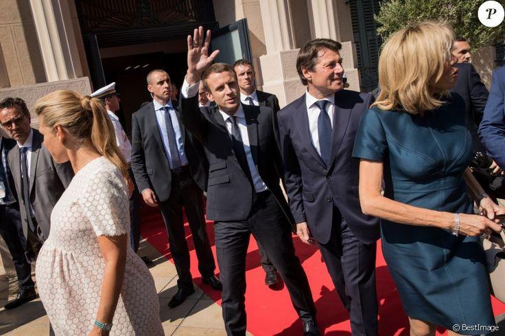 Le maire de Nice, Christian Estrosi, sa femme Laura Tenoudji (enceinte), le président de la République Emmanuel Macron, sa femme Brigitte