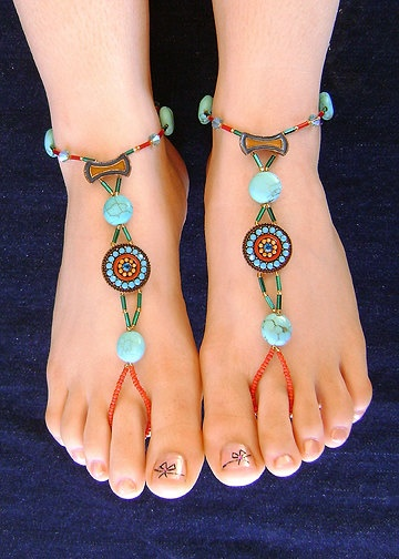 Barefoot Sandals. Blue with turquoise puffed coin beads and red seed beads. Fits foot sizes 6 -9. Made with stretch cord