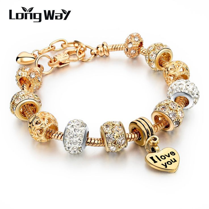 Hot Selling 2016 Heart Charm Bracelets & Bangles Gold Bracelets For Women DIY Pulsera Famous Brand Jewellery SBR150074-in Charm Bracelets from Jewelry on Aliexpress.com | Alibaba Group