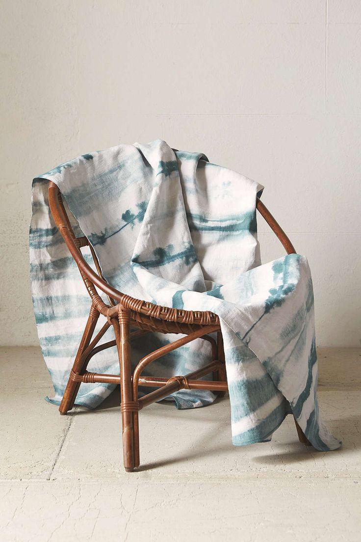 Riverside Tool & Dye Hand-Dyed Pale Stripe Linen Blanket