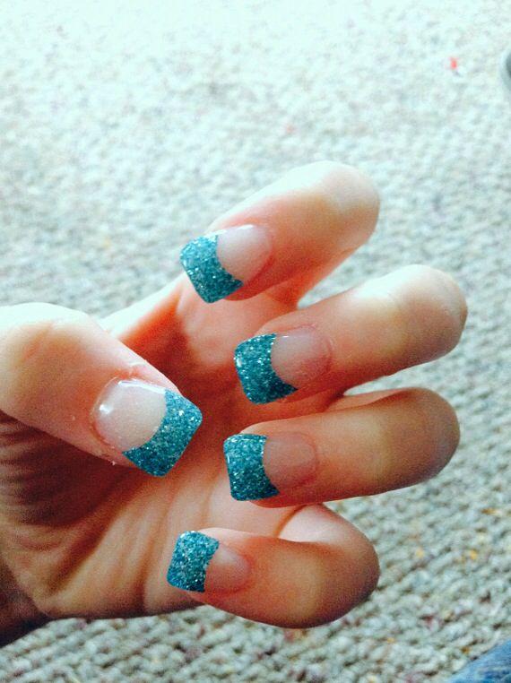 Blue glitter acrylic tips nail ideas