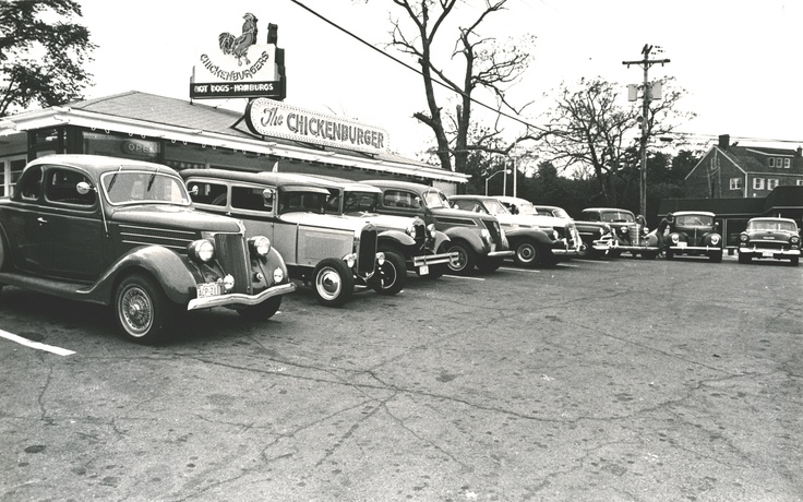 Antique cars out in from of the Chick in 1988.