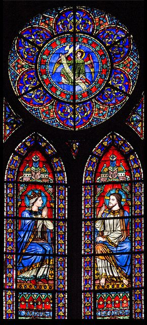 Stained glass from the apse of Notre Dame de Paris taken with color...not B&W like i did Tee hee hee