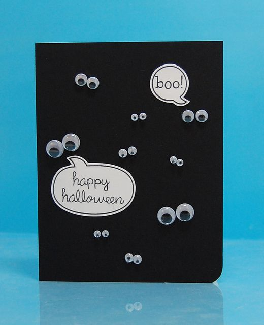 Very cute Halloween card idea . .. and I have soooo many googly eyes leftover from another project.