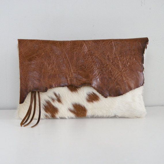 Raw Edge Spotted Hair on Hide and Distressed Brown Leather Clutch - Brown and Cream Pony Spotted Cow Hair Clutch - Boho Hippie Clutch