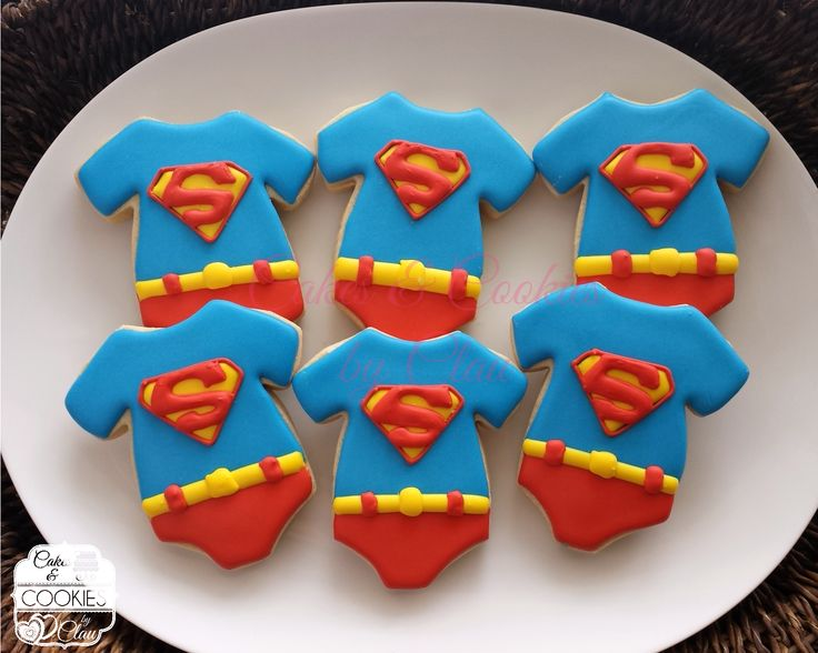 Baby Shower Superman Onesies Cookies www.cakesandcookiesbyclau.com