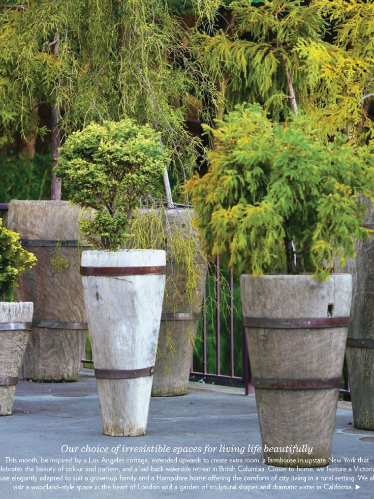 Pots U0026 Planters | Rustic Wood Planters With Iron Straps