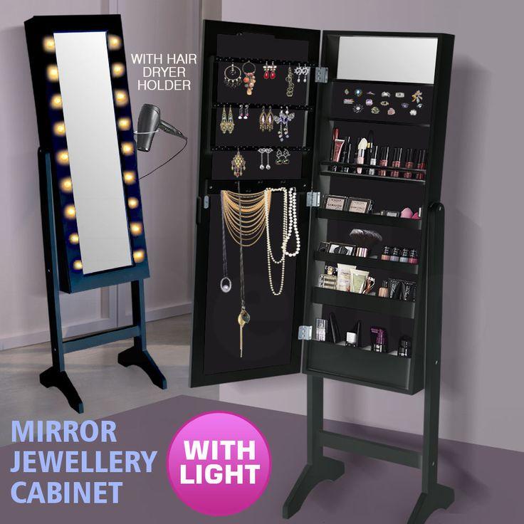 Stylish floor standing make up and jewellery cabinet - keep your jewellery and cosmetics safe, organised and easily accessible. Full length adjustable glass mirror surrounded by18 LED lights and. 1 x Mirror Jewellery Cabinet. | eBay!