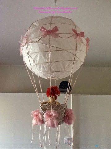 Coccolandia: Lampadario Mongolfiera, con palla carta di riso Ikea. Handmade.