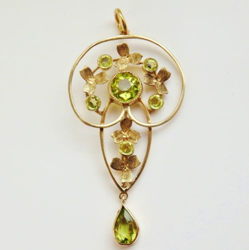Antique-Victorian-9ct-Gold-Art-Nouveau-Peridot-set-Drop-Pendant-c1900