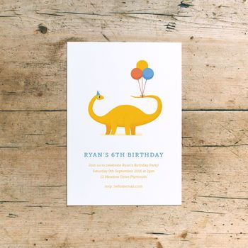 Dinosaur Children's Birthday Party Invitations by Dearly Beloved, available from notonthehighstreet.com