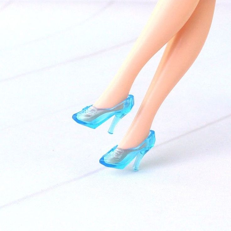 NEW Cinderella Princess CLEAR BLUE SLIPPER SHOES heels Barbie Clothes Accessory #China