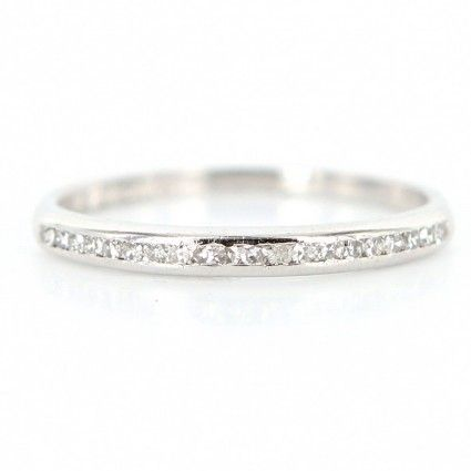 Vintage Art Deco Platinum Diamond Wedding Band Ring - Size 8