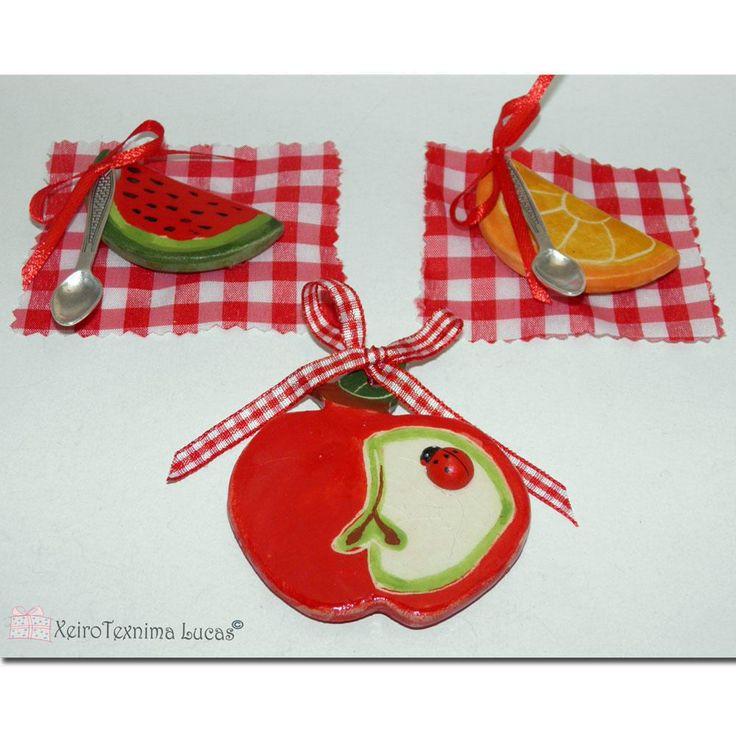 Handmade Ceramic Fruit Magnets Gift Wrap Greek Souvenirs, Kitchen Ornament Magnet Watermelon, Apple, Orange Slices by XeiroTexnimaLucas on Etsy