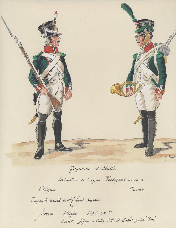 Italy; Line Infantry, Voltigeur & Cornet 1809-11, by BOISSELIER.