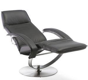 The ideal Home-Cinema lounge chair. This design is unique with the function of the foot part. The Benefit from this is more space in the room. It is based on a steel frame with springs.. The design in Stainless brushed steel makes the chair very special. The Reclining system operates as follows: When sitting in the chair – place your hands on the armrest, lean back at the same time as you lift your feet. You can stop in any reclining position using the brake system, handle at the right side.