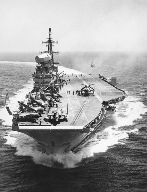 HMS Hermes (R12) as commissioned in 1959. She is at this moment, as of 12 February 2016 on her farewell voyage, now INS Viraat, of the Indian Navy. Laid down on 21 June 1944, surviving time and war, she will at last have her rest.