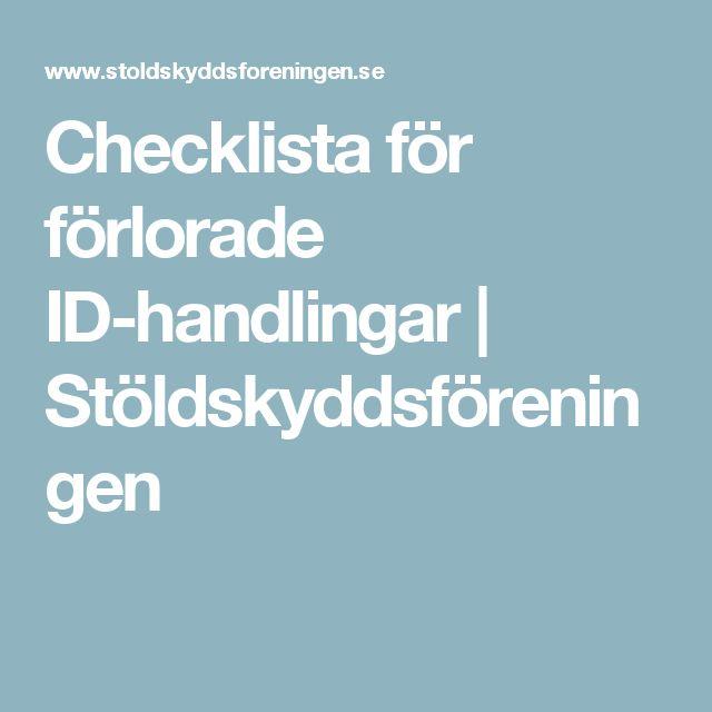 Checklista för förlorade ID-handlingar | Stöldskyddsföreningen